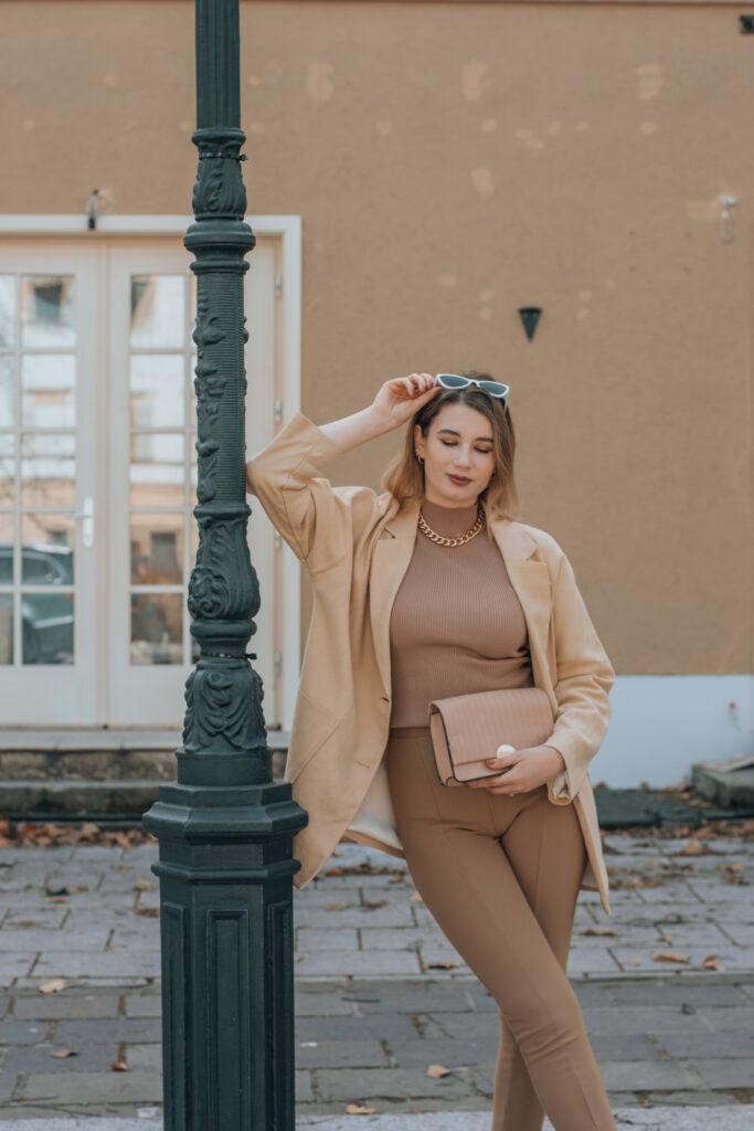brown, beige ootd, street style