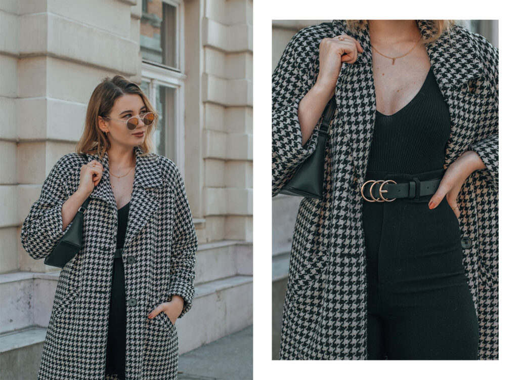 pepita coat, black elegant outfit