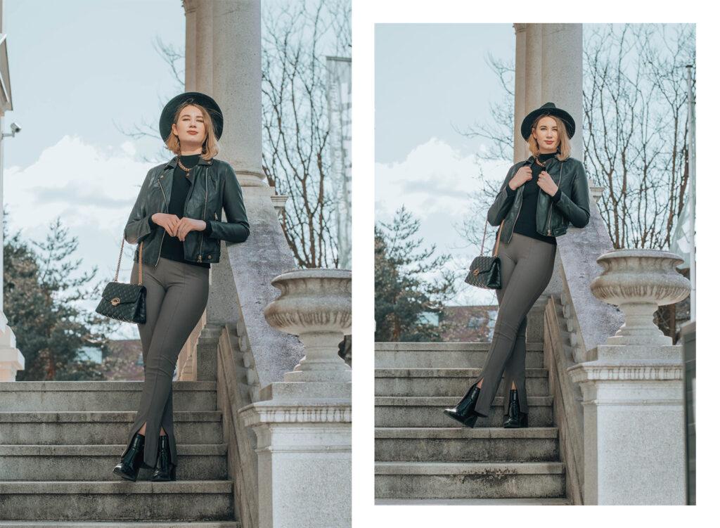 split high waisted leggings, zara, outfit, leather jacket, style inspo