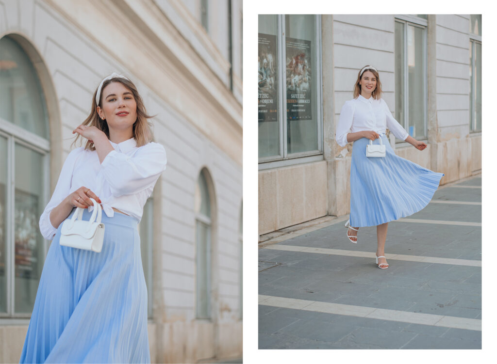baby blue skirt, outfit inspo, summer spring 2021, fashion, new yorker